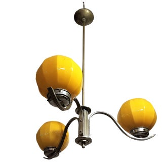 1940 Vintage French Art Deco, Nickel on Brass Chandelier With Opaline Globes For Sale