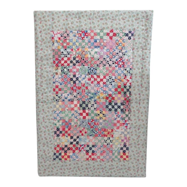 Fantastic Mounted Postage Stamp Crib Quilt from Pennsylvania For Sale
