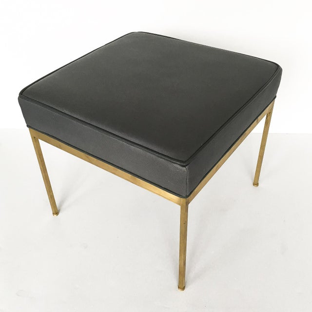 Lawson-Fenning Square Brass and Black Leather Ottomans - a Pair For Sale - Image 5 of 8