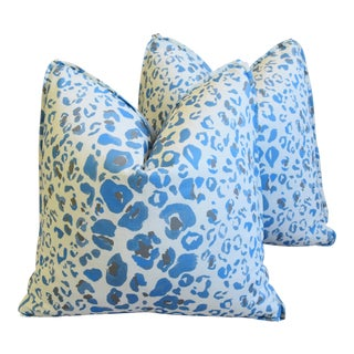"Pindler & Pindler Leopard Animal Spot & Velvet Feather/Down Pillows 20"" Square - Pair For Sale"