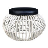 Image of Vintage Albini Style Pencil Reed Rattan Ottoman For Sale
