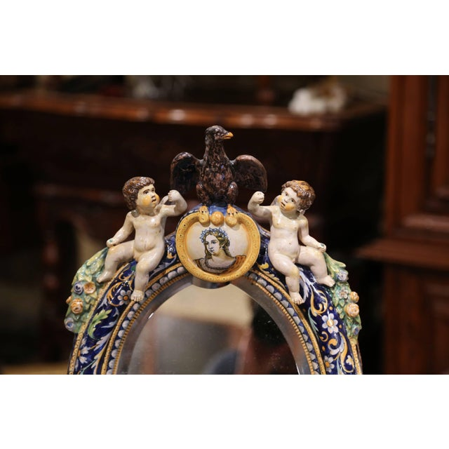 Figurative 19th Century French Painted Ceramic Vanity Mirror With Cherub and Eagle Figures For Sale - Image 3 of 10