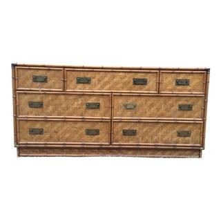Vintage Dixie Herringbone Bamboo Rattan Campaign Dresser