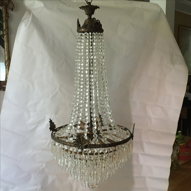 Gorgeous drop crystal chandelier with acanthus details and ready to hang. Vintage.