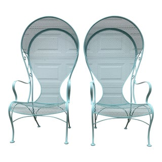 1950s Woodard Canopy Iron Patio Garden Lounge Chairs - a Pair For Sale