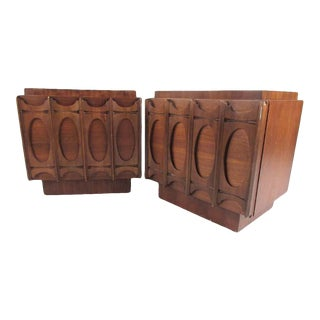 Pair of Brutalist Modern Walnut Nightstands For Sale