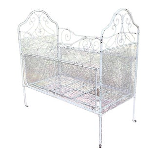 1900s Shabby Chic Wrought Iron Crib For Sale