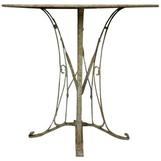 1920s Vintage French Art Deco Style Iron Garden Table For Sale