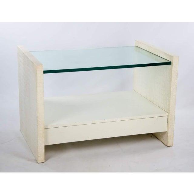 Karl Springer Albino Python Glass Top Side Table For Sale - Image 13 of 13