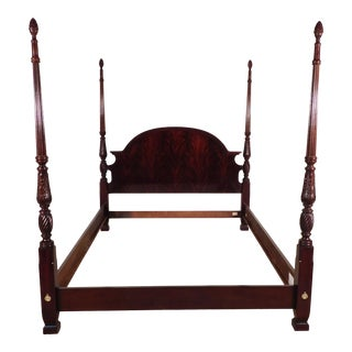 1990s Thomasville Flame Mahogany Queen Size Carved Poster Bedframe For Sale