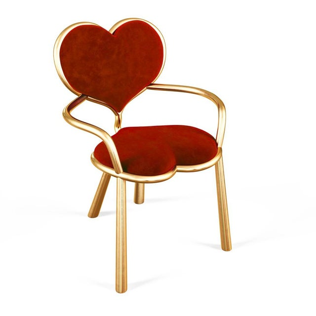 Gold Cast Bronze Heart Chair by Artist Troy Smith - Contemporary Design - Limited Edition For Sale - Image 8 of 8