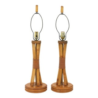 Vintage Rattan Table Lamps - a Pair For Sale