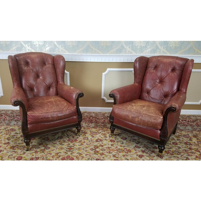 Lillian August Leather Wing Back Armchairs - A Pair - Image 2 of 10