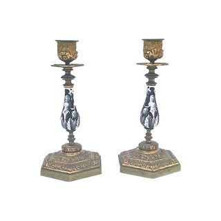 Antique Caryatid Candlesticks - a Pair For Sale