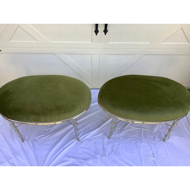 Mastercraft Mastercraft Faux Bamboo Brass Stools, a Pair For Sale - Image 4 of 10