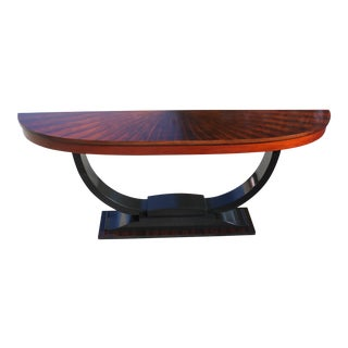 1940s Art Deco Exotic Macassar Ebony ''Sunburst'' Console Table For Sale