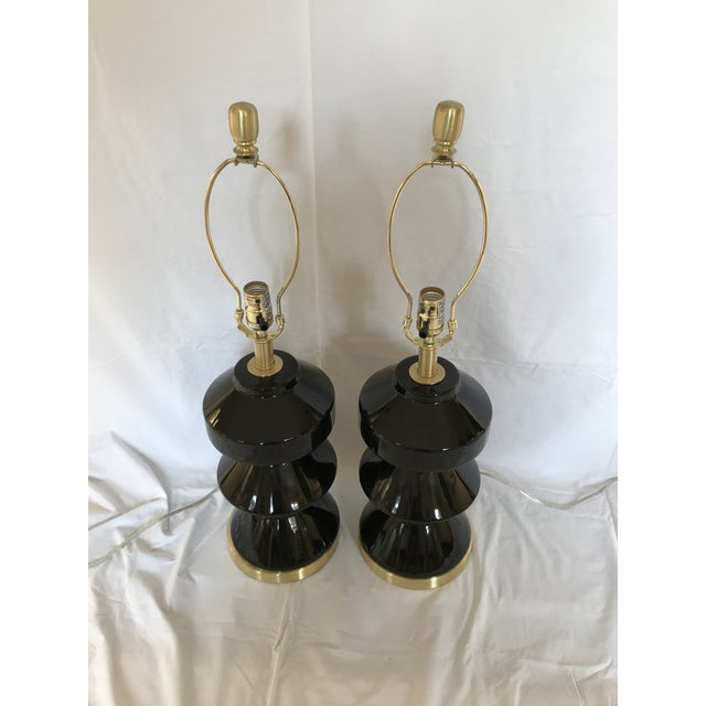 Modern Black and Gold Lamps - a Pair For Sale - Image 4 of 5