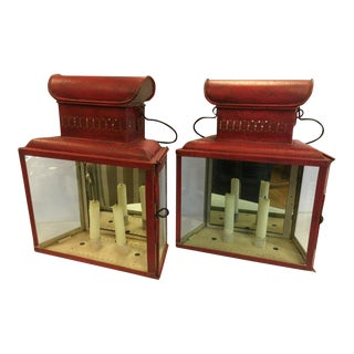 Antique Red Tole Lanterns Sconces Candleholders For Sale