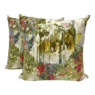 Linen Impressionist Designer Pillows - a Pair For Sale
