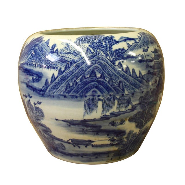 Asian Chinese Blue White Scenery Porcelain Pot Vase For Sale - Image 3 of 6