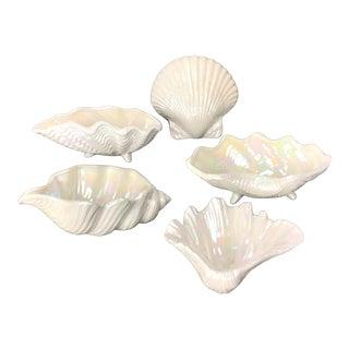 Mid 20th Century Ceramic Lustre Shells - Set of 5 For Sale