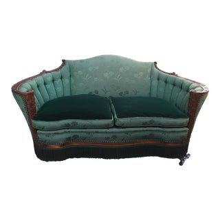 1920s American Classical Green Silk and Velvet Upholstered Carved Mahogany Settee