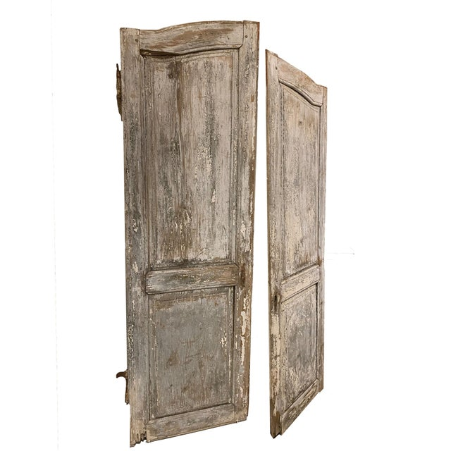 19th Century French Antique Chippy Paint Doors With Hardware - a Pair For Sale In Dallas - Image 6 of 7