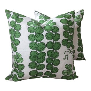 Contemporary Svenskt Tenn for Josef Frank Emerald Green Celotocaulis Pillows - a Pair For Sale