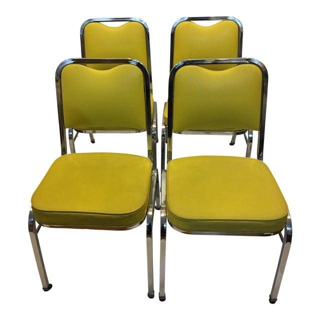 Mid-Century Chrome & Vinyl Chairs- Set of 4 - Image 1 of 8