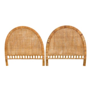 20th Century Boho Chic Full Size Buri Cane Natural Wicker Bamboo Rattan Headboards - a Pair For Sale
