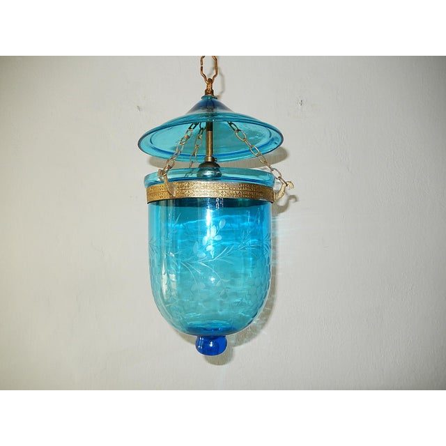 Rare cobalt color. Made for candles, but wired with one big socket. Bronze details. Grape etching encircling. The bell...