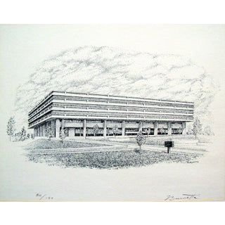 "Architectural Lithograph, Signed ""Burnette"""