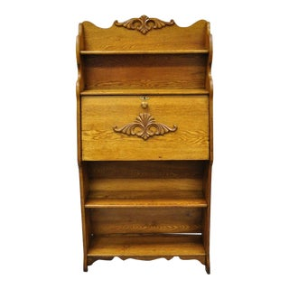20th Century Victorian Golden Oak Wood Larkin Secretary Bookcase For Sale