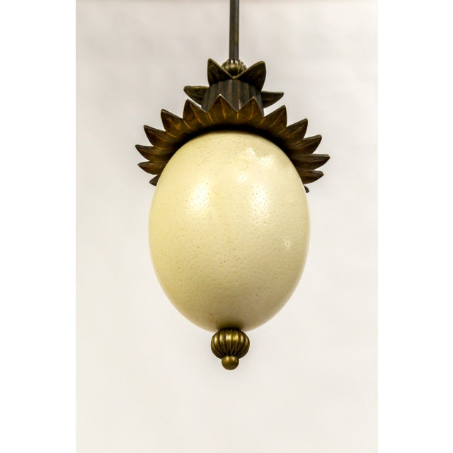 Metal Ostrich Egg Pagoda Pendant For Sale - Image 7 of 10