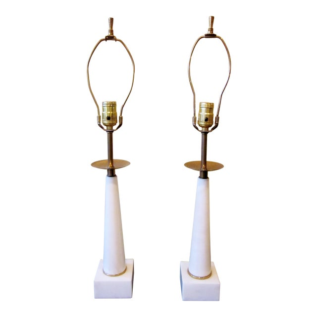 1950s Modernist White Italian Alabaster and Brass Column Boudoir Table Lamps For Sale