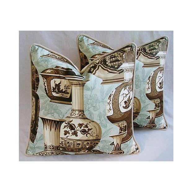 A pair of custom-made pillows in vintage cotton chinoiserie toile fabric from Braemore Fabrics called Asian Kings Dynasty....