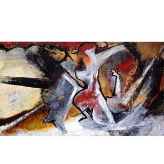 "Abstract Painting on Canvas, ""Figures"" by Suzanne Clune For Sale"