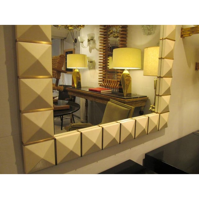 Modern Custom Geometric Parchment Mirror with Inlaid Brass For Sale - Image 3 of 7