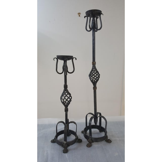 Theodore Alexander Tall Candle Holders - a Pair For Sale - Image 11 of 11