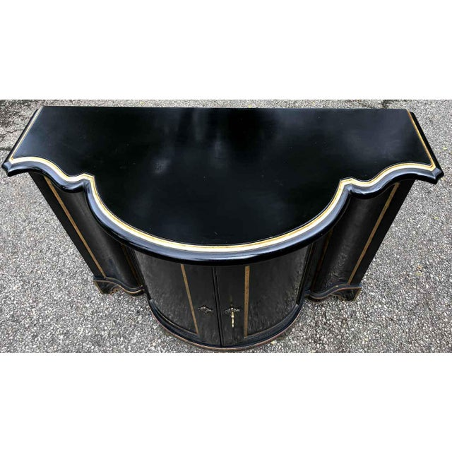 Baker Chinoiserie Black Lacquer Demi-Lune Commode For Sale - Image 9 of 13