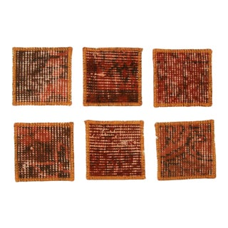Carpet Coasters | Orange Overdye Coasters For Sale