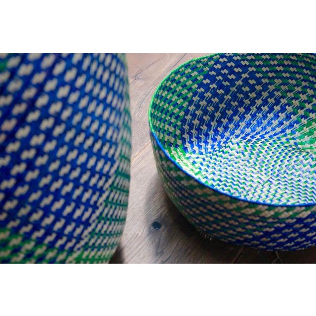Hand-Woven Tenate Oaxacan Basket in Yellow & Blue - Image 4 of 5