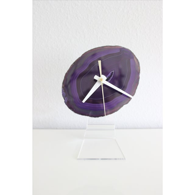 Minimalist Purple SoLo Agate Clock on Lucite - Image 4 of 8