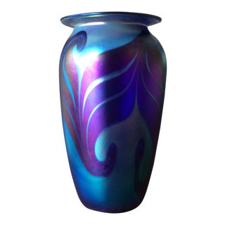 Purple & Blue Art Glass Vase For Sale