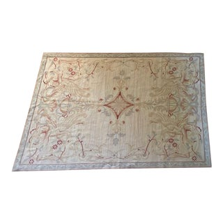Late 20th Century Handwoven Aubusson Style Wool Needlepoint Rug- 4′ × 6′ For Sale