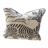 Image of Clarence House Black & White Cut Velvet Down Filled Pillow For Sale