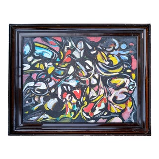 Mid 20th Century French Abstract Oil Painting, Framed For Sale