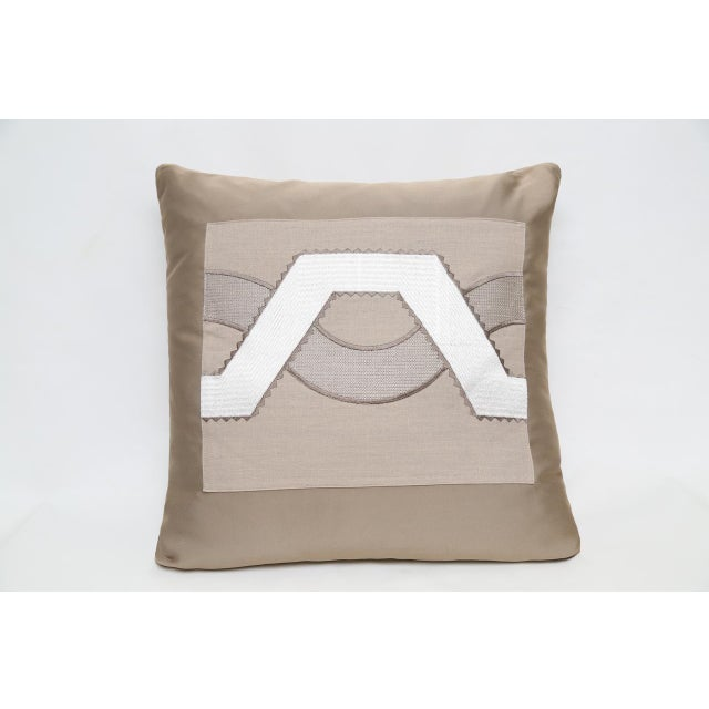 Contemporary Beige Satin Wave Pillow For Sale - Image 3 of 3