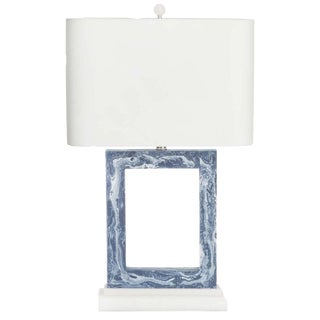 "Pacific Blue Marbled Table Lamp, 31""h"