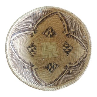 Vintage Woven Seagrass Ethnic Round African Deep Basket For Sale